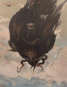 "nonsensemachine: Denis Forkas, ""Gorgoneion III"" via Baphomet, Traditional Witchcraft, Scary Art, Occult Art, Futuristic Art, Witch Art, Macabre, Art Blog, Watercolor Art"