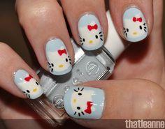 fingernail art | thatleanne: Hello Kitty Nail Art with Essie Wedding 2011 swatches!