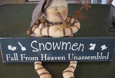 Snowmen Fall From Heaven Unassembled Primitive Wood Sign