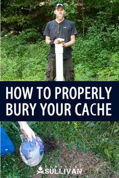 Step by step how to bury some of your survival items to keep them safe until SHTF. Survival Cache, Off Grid Survival, Survival Items, Survival Shelter, Urban Survival, Wilderness Survival, Camping Survival, Survival Prepping, Emergency Preparedness