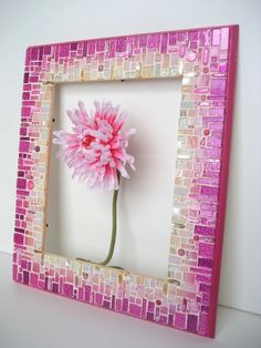 Pink Mosaic Frame/Mirror by RachaelCao on Etsy Cool idea for a frame. Also would be cute to have a picture from our foundation with several of our girls when supporting breast cancer awareness month.(Cool Pictures Of Girls)Radiating blended rows are Mirror Mosaic, Mosaic Art, Mosaic Glass, Mosaic Tiles, Glass Art, Mosaics, Stained Glass, Mosaic Crafts, Mosaic Projects