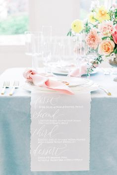 Pastel tabletop with coral, blue, pink and yellow hues. Photo: Heirloom Rose Photography Pastel Wedding Colors, Heirloom Roses, Rose Photography, Coral Blue, Pink, Yellow, Palette, Table Decorations, Tabletop