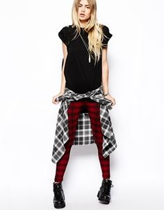 ASOS Tartan Check Legging - rip up a pair of black skinny jeans and wear over top of the leggings