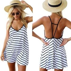 Moxeay Sexy Women Black and White Stripes Spaghetti Strap...