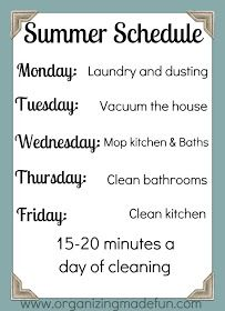 Organizing Made Fun: Summertime organizing: Summer schedule