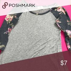 "Floral baseball style tee Has a little bit of the ""high-low"" look to it, floral and grey baseball style tee Tops Tunics"