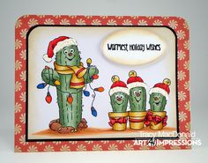 Art Impressions Rubber Stamps: Ai Christmas: 4787 – Southwest Christmas Set ... handmade card. cactus