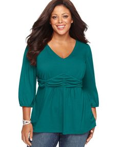 NY Collection Plus Size Three-Quarter-Sleeve Ruched Empire-Waist Top | macys.com