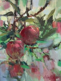 Apple Impression - apple tree garden painting, painting by artist Mary Maxam