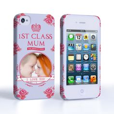 Caseflex iPhone 4 / 4S '1st Class Mum' Vintage Floral Hard Case #MothersDay #Pink #Blue #1stClassMum #Typography #Illustration #Frame #Personalised #Personal #Banner #Flowers #Rose #Holiday #Celebration #Gift #Present #Apple #iPhone4 #iPhone4S #Case #Cover #HardCase #PhoneCover