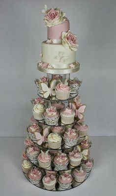 2014 Vintage Wedding Cake with Chic Cupcakes to accommodate www.MadamPaloozaEmporium.com www.facebook.com/MadamPalooza