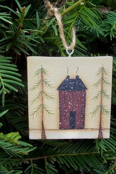 Primitive Salbox House Canvas Ornament