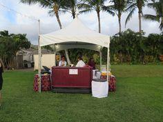 Our couple's wedding bar set up at Paradise Cove. Contact Hawaii Weddings by Tori Rogers www.hawaiianweddings.net