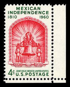The Department issued this 4-cent stamp on September 16, 1960, through the Los Angeles, California, post office to commemorate the 50th anniversary of Mexican Independence.