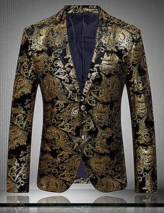 2b8bda477cb2 Men's Party / Daily / Club Sophisticated / Exaggerated Spring / Fall  Regular Blazer, Floral Notch Lapel Long Sleeve Cotton / Polyester Print Gold  / Silver ...