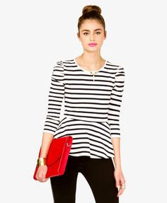 Striped Puffed Sleeve Peplum Top