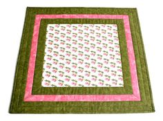 Quilted Table Topper, Cherry Table Runner, Pink Table Topper, Kitchen Table Quilt, Quiltsy Handmade by RedNeedleQuilts on Etsy