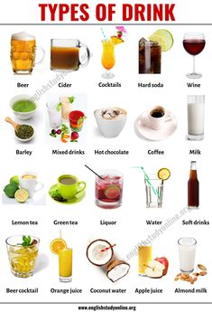 Types of Drinks: List of 20 Popular Drink Names with Their Pictures - English Study Online Cider Cocktails, Juice Drinks, Coffee Milk, Coffee Type, Cranberry Juice, Apple Juice, English Study, Learn English, British English