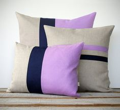 Colorblock Stripe Pillow Set - Radiant Orchid & Navy Blue Striped Pillow and Color Block Pillow Set by JillianReneDecor (Set of 3) - Modern