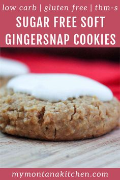 These soft cookies are a cross between a gingersnap and a molasses cream cookie. Soft, with a hint of spice and a sweet frosting, they are perfect for Christmas cookie trays! This recipe is low carb, sugar free, and gluten free. #gingersnapcookies #glutenfreecookie #sugarfree #lowcarb Sugar Free Treats, Sugar Free Cookies, Sugar Free Desserts, Gluten Free Cookies, Yummy Cookies, Low Carb Sweets, Low Carb Desserts, Healthy Dessert Recipes, Low Sugar Recipes