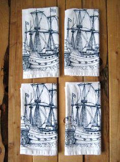 Screen Printed Organic Cotton Nautical Cloth Napkins  Oh, Little Rabbit