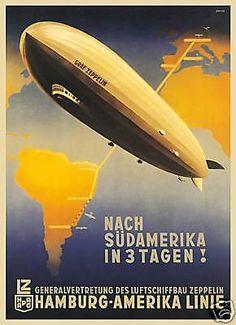 Hapag Hamburg Amerika German zeppelin art poster print    SKU3311