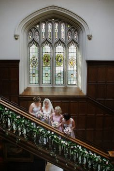 Wedding and Floral Event Styling from Planet Flowers: Jayne & James - Dundas Castle: Bannister / Stair Case decoration / greenery garland