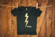 Be Kind  Kids Apparel  Lightning Bolt TShirt  by BeKindMovement, $20.00