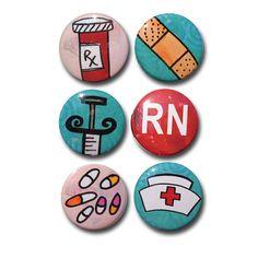 Nurse Magnets - Nurse Pinback Buttons - 1 inch, nursing student, RN, CNA, lpn, medical magnets, hospital, fridge magnet set, nurse pin set on Etsy, $8.00
