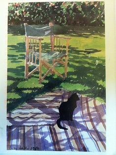 "Cat card from Georgia - ""Cat on Rug"" - 1986 painting by Lucy Willis.  Sent by Postcrosser in Georgia in the United States."