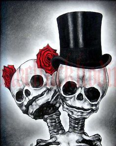 "Print 8x10"" - Couple - Skull Skeleton Roses Top Hat Day of the Dead Macabre Gothic Fantasy Wedding Bride Groom Dark Art Pop"