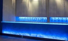 Ballroom at Roma,   LED back-lit bar made by Think Glass  Simple, modern and affordable design for our film!?