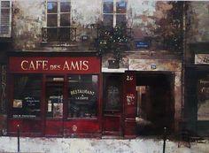 Framed Paris Art Print - Cafe Des Amis by Chiu Tak Hak -Paris Cafe Bistro France French Artwork Painting Red Paris Streets Kitchen Decor