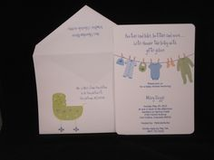 Baby Shower Invitation  Booties and bibs, bottles and more……….  Lets shower the baby with gifts galore  These baby shower invites are printed in house by The Fancy Envelope and retail for $2.50 per invitation and include:  The invitation, printed return address, and are personalized with the guests name and address on the outer envelope.  We only require a minimum order of 10 invitations.   Please contact allison@thefancyenvelope.com for additional information
