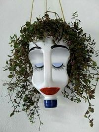 Give this bleach bottle planter googly eyes, and hang it in the window to prevent break ins. Make it out of bleach bottle use permament markers a hanging plant and a steing snd dirt your set This hanging planter made from a plastic jug cracks me up! Garden Crafts, Garden Projects, Craft Projects, Recycled Crafts, Diy And Crafts, Recycled Materials, Bleach Bottle, Plastic Bottle Crafts, Plastic Milk