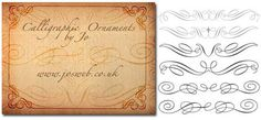Set of fourteen calligraphic ornament Photoshop brushes - Free download!