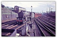 South end of Preston Railway Station May 1961 (Tony Gillett) No. 44767 arrives with a train from the south. Preston Lancashire, Train Room, Steam Railway, Train Pictures, British Rail, Old Trains, Steamers, Blackpool, Steam Engine