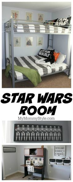 Love this shared boys star wars bedroom! The striped bedding and Star Wars wall art brings it all together in such a fun way!