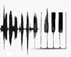 This would make a pretty awesome tattoo but reversed with the piano keys leading to the sound wave
