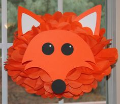 "Made this and many more animals from homemade fans for Hannah's ""What does the Fox say"" party Woodland Party, Jungle Party, Fox Party, Paper Animals, Animal Party, Paper Pom Poms, Tissue Paper Flowers, Pom Pom Animals, Barn Parties"