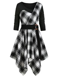 OFF] 2019 Plaid Belted Handkerchief Dress Source by dresslily_official dress teenage Edgy Outfits, Teen Fashion Outfits, Pretty Outfits, Pretty Dresses, Dress Outfits, Cool Outfits, Fashion Dresses, Plaid Dress, Belted Dress