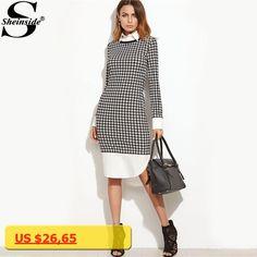 Sheinside Houndstooth Contrast Curved Hem Combo Dress Ladies Knee Length Long Sleeve Elegant Dress With Zip Work Wear Dress