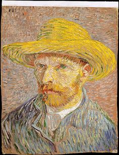 Self-Portrait with a Straw Hat.  Vincent van Gogh. 1887