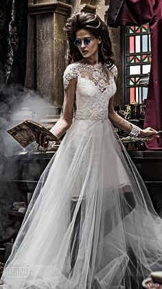olvis 2017 couture bridal cap sleeves illusion bateau sweetheart neckline heavily embellished bodice tulle skirt romantic princess a  line wedding dress lace back chapel train (2291) zv