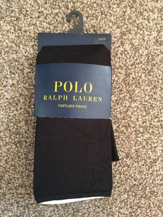 POLO RALPH LAUREN Fashion Footless Tights Size L BNWT Black Style: 7607T