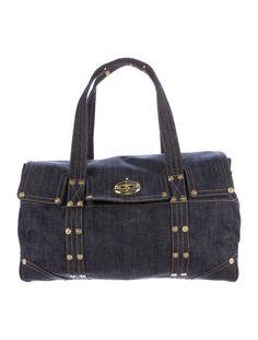 ff38af0af8ea Blue dark wash denim Mulberry Large Bayswater bag with gold-tone hardware