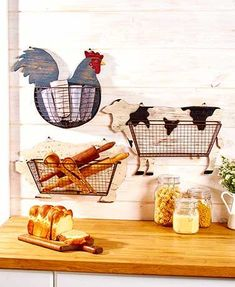 The Farmhouse Kitchen Wall Basket is a fun and functional addition to your eating area. It's attached to a wooden cutout of a popular barnyard animal and can be used to store anything from cooking utensils to fruits and vegetables. Cocina Shabby Chic, Shabby Chic Kitchen, Vintage Kitchen, Wire Wall Basket, Baskets On Wall, Wire Baskets, Storage Baskets, Utensil Storage, Cabinet Storage