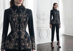 Look 11 by Paolo Sebastian Couture AW Gothic Fashion, Look Fashion, High Fashion, Fashion Outfits, Womens Fashion, Fashion Design, Cheap Fashion, Gothic Mode, Fantasy Dress