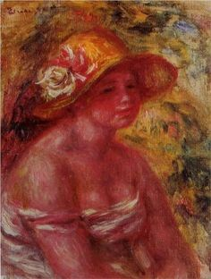 Bust of a Young Girl Wearing a Straw Hat - Pierre-Auguste Renoir
