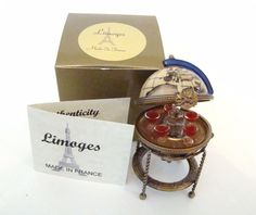Limoges Box - Globe Bar on Gold Stand